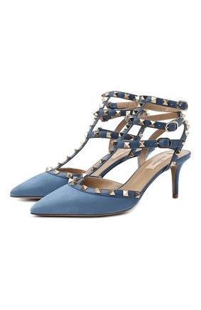Женские кожаные туфли rockstud VALENTINO голубого цвета, арт. UW0S0375/WVW | Фото 1