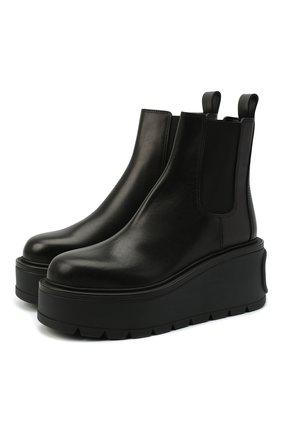 Женские кожаные челси  VALENTINO черного цвета, арт. UW0S0AP7/RBJ | Фото 1 (Материал внутренний: Натуральная кожа; Подошва: Платформа; Женское Кросс-КТ: Челси-ботинки)