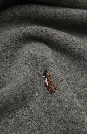 Мужской шерстяной шарф POLO RALPH LAUREN серого цвета, арт. 449727530 | Фото 2 (Материал: Шерсть; Кросс-КТ: шерсть)
