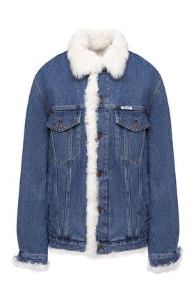 Женская джинсовая куртка с меховой отделкой FORTE DEI MARMI COUTURE голубого цвета, арт. 20WF7350-07 | Фото 1