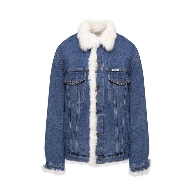 Джинсовая куртка с меховой отделкой Forte Dei Marmi Couture.