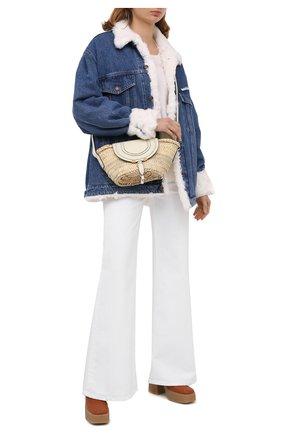 Женская джинсовая куртка с меховой отделкой FORTE DEI MARMI COUTURE голубого цвета, арт. 20WF7350-07 | Фото 2