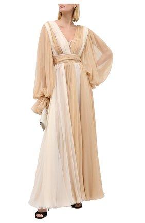 Женское шелковое платье DOLCE & GABBANA бежевого цвета, арт. F6K2RT/FU1AT   Фото 2 (Рукава: Длинные; Материал подклада: Шелк; Материал внешний: Шелк; Женское Кросс-КТ: Платье-одежда; Стили: Романтичный; Длина Ж (юбки, платья, шорты): Макси; Случай: Вечерний)