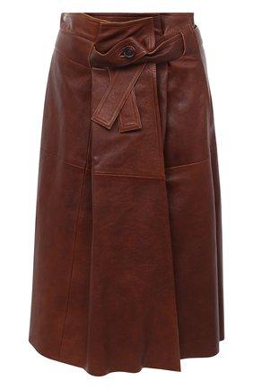 Женская кожаная юбка CHLOÉ коричневого цвета, арт. CHC20ACJ11205 | Фото 1
