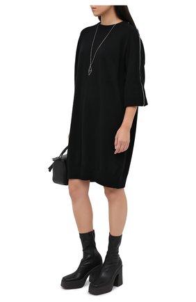 Женское платье из шерсти и кашемира MRZ черного цвета, арт. FW20-0145 | Фото 2
