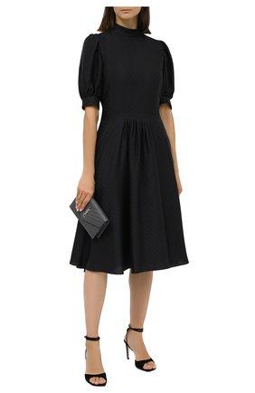 Женское шелковое платье GIORGIO ARMANI черного цвета, арт. 0WHVA06D/T01V0 | Фото 2