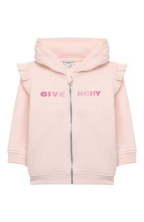 Детский хлопковая толстовка GIVENCHY светло-розового цвета, арт. H05142 | Фото 1