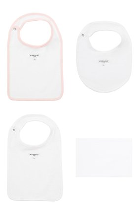 Детский комплект из трех нагрудников GIVENCHY светло-розового цвета, арт. H98087 | Фото 2 (Материал: Текстиль, Хлопок)