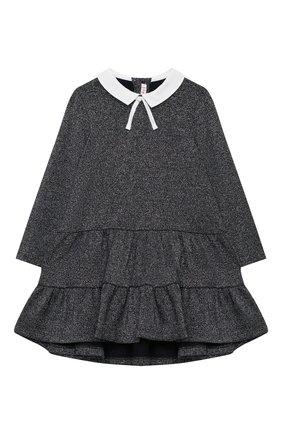 Детское платье IL GUFO темно-синего цвета, арт. A20VL401M0087/2A-4A   Фото 1 (Рукава: Длинные; Материал внешний: Синтетический материал; Случай: Повседневный; Ростовка одежда: 3 года   98 см)