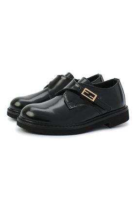Детские кожаные монки FENDI черного цвета, арт. JMR345/PJQ/20-26 | Фото 1 (Материал внешний: Кожа; Материал внутренний: Натуральная кожа; Мальчики Кросс-КТ: дерби; Случай: Вечерний)
