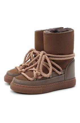 Детские кожаные ботинки INUIKII серого цвета, арт. 60207-1/26-33 | Фото 1