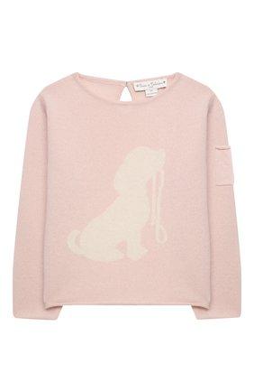 Детский кашемировый пуловер OSCAR ET VALENTINE розового цвета, арт. PUL01DOGM | Фото 1