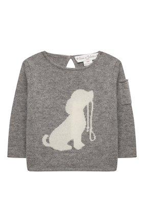 Детский кашемировый пуловер OSCAR ET VALENTINE серого цвета, арт. PUL01DOGS | Фото 1