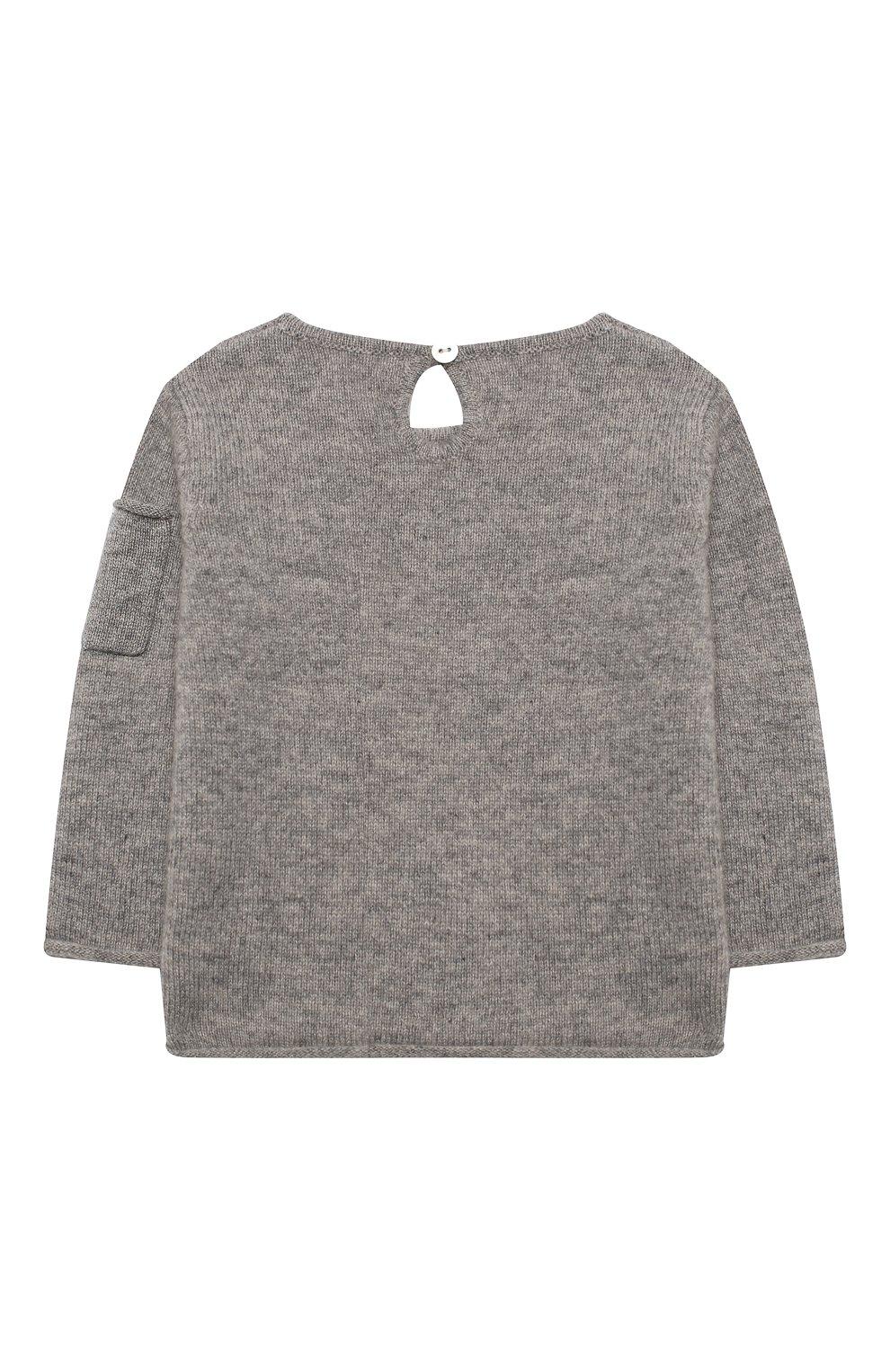 Детский кашемировый пуловер OSCAR ET VALENTINE серого цвета, арт. PUL01DOGS | Фото 2