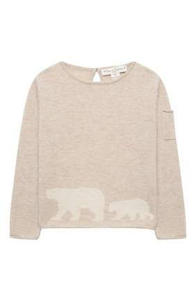 Детский кашемировый пуловер OSCAR ET VALENTINE бежевого цвета, арт. PUL01BEARM | Фото 1