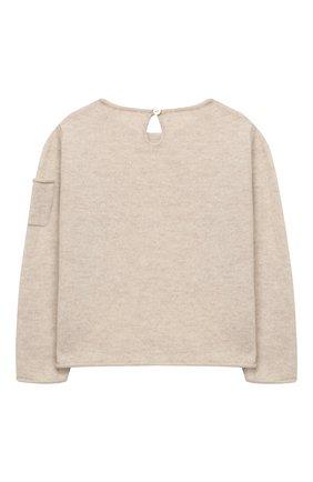 Детский кашемировый пуловер OSCAR ET VALENTINE бежевого цвета, арт. PUL01BEARM | Фото 2