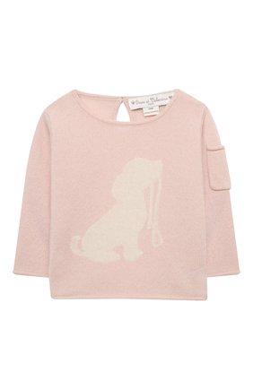 Детский кашемировый пуловер OSCAR ET VALENTINE розового цвета, арт. PUL01DOGS | Фото 1