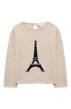 Детский кашемировый пуловер OSCAR ET VALENTINE бежевого цвета, арт. PUL01EIFFELM | Фото 1