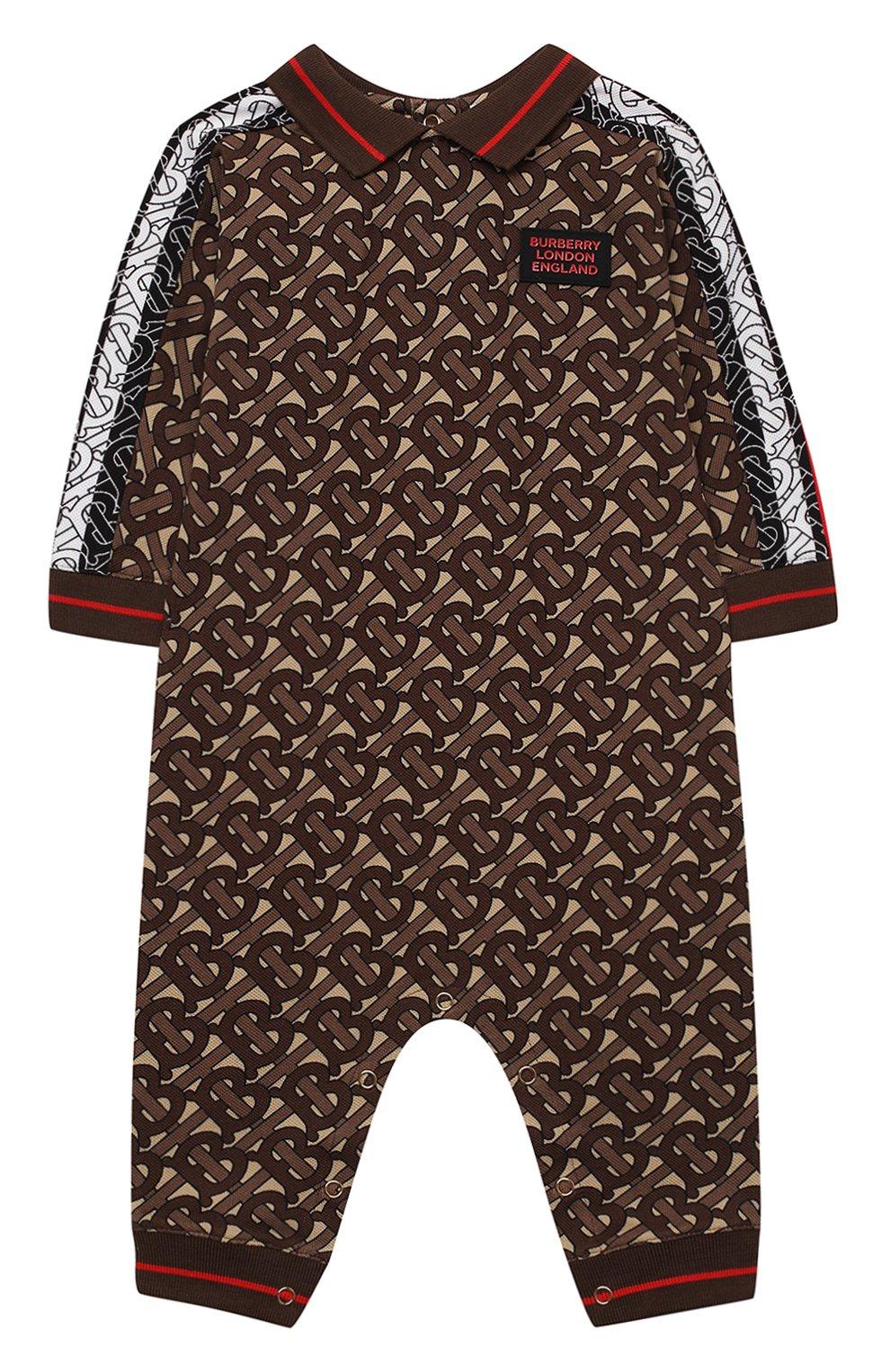 Детский хлопковый комбинезон BURBERRY коричневого цвета, арт. 8031932   Фото 1
