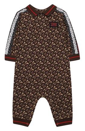 Детский хлопковый комбинезон BURBERRY коричневого цвета, арт. 8031932 | Фото 1
