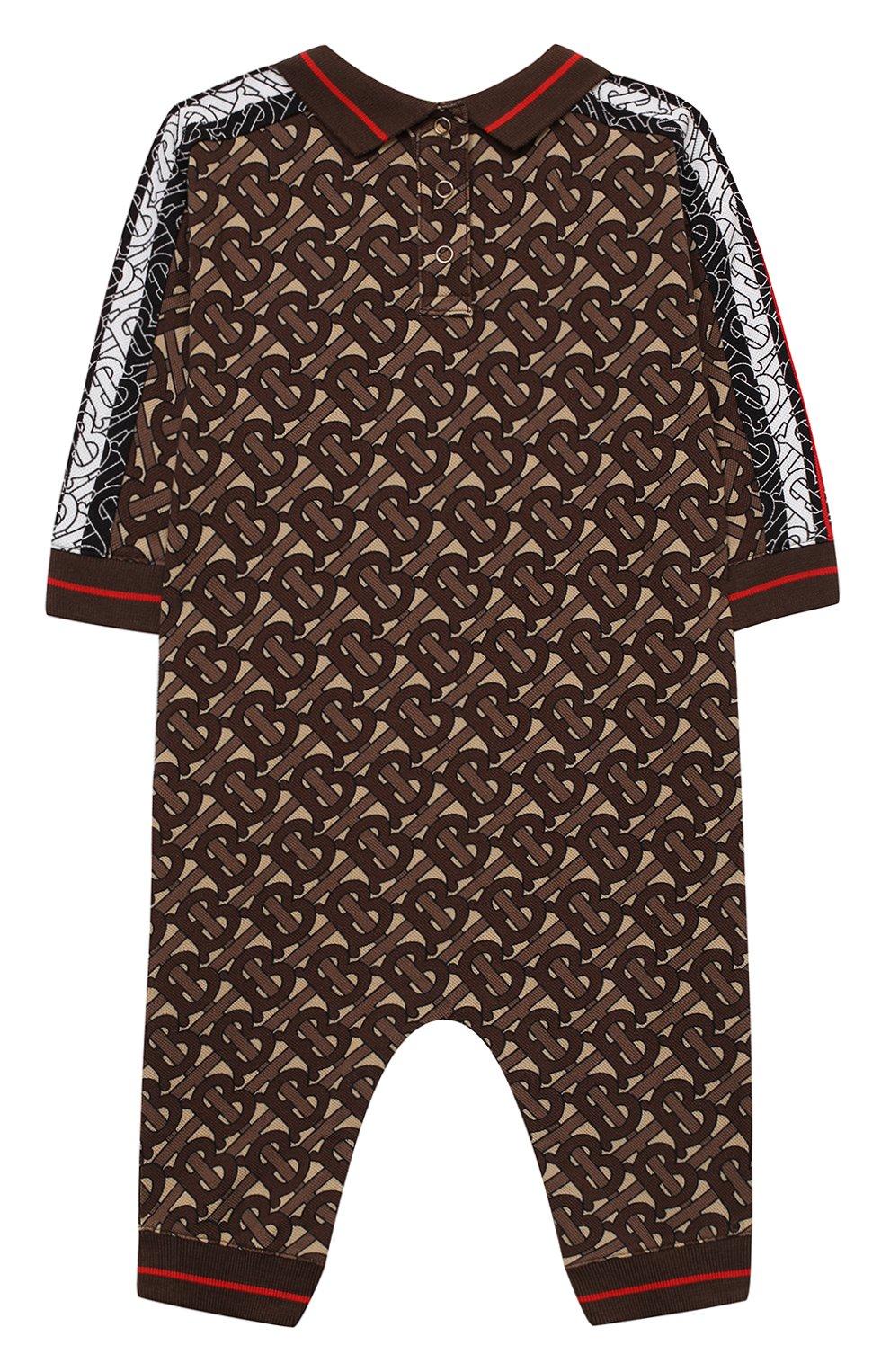 Детский хлопковый комбинезон BURBERRY коричневого цвета, арт. 8031932   Фото 2