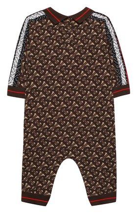 Детский хлопковый комбинезон BURBERRY коричневого цвета, арт. 8031932 | Фото 2