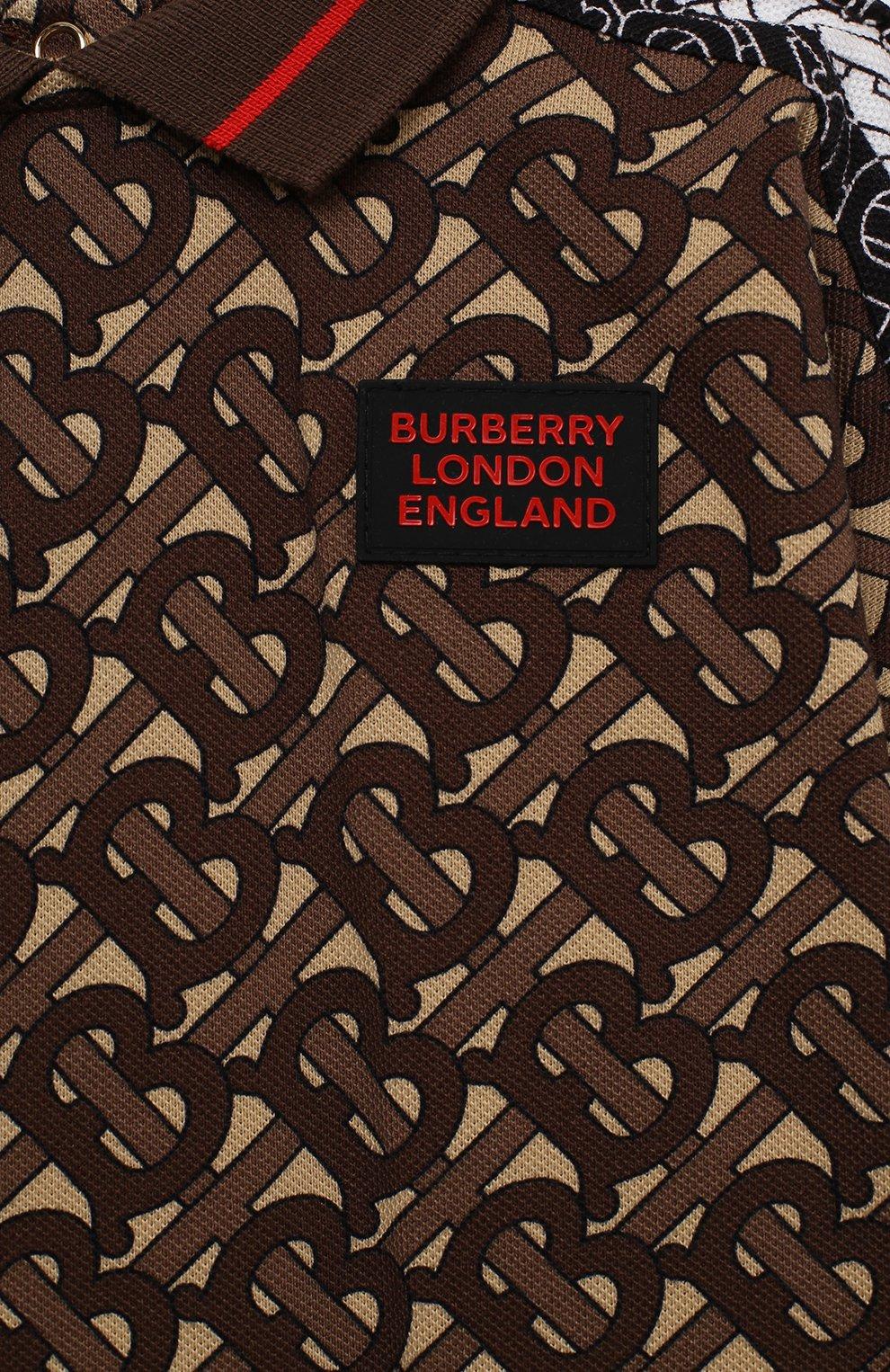 Детский хлопковый комбинезон BURBERRY коричневого цвета, арт. 8031932   Фото 3