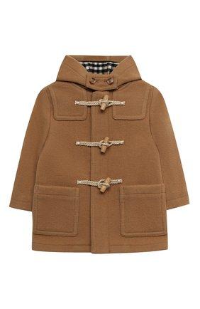 Детского шерстяное пальто BURBERRY бежевого цвета, арт. 8033193 | Фото 1