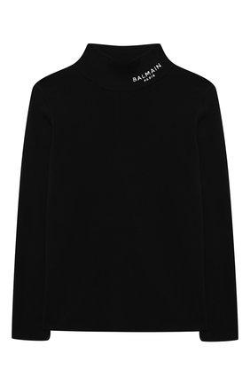 Детская хлопковая водолазка BALMAIN черного цвета, арт. 6N9570/NF280/4-10   Фото 1