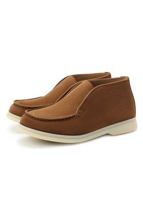 Детские замшевые ботинки LORO PIANA коричневого цвета, арт. FAD6916 | Фото 1