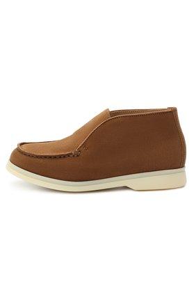 Детские замшевые ботинки LORO PIANA коричневого цвета, арт. FAD6916 | Фото 2