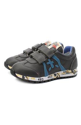 Детские кожаные кроссовки PREMIATA WILL BE серого цвета, арт. LUCY V/11-21312/T0D | Фото 1 (Материал внутренний: Натуральная кожа; Кросс-КТ: велькро; Стили: Гранж)