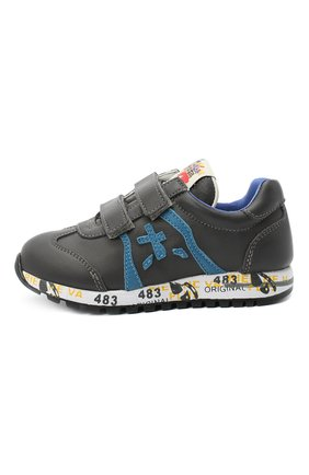 Детские кожаные кроссовки PREMIATA WILL BE серого цвета, арт. LUCY V/11-21312/T0D | Фото 2 (Материал внутренний: Натуральная кожа; Кросс-КТ: велькро; Стили: Гранж)