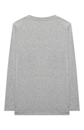 Детская хлопковый лонгслив MOSCHINO серого цвета, арт. HU0006/LBA24/10A-14A | Фото 2