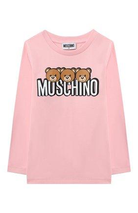Детская хлопковый лонгслив MOSCHINO розового цвета, арт. HU0006/LBA24/4A-8A | Фото 1
