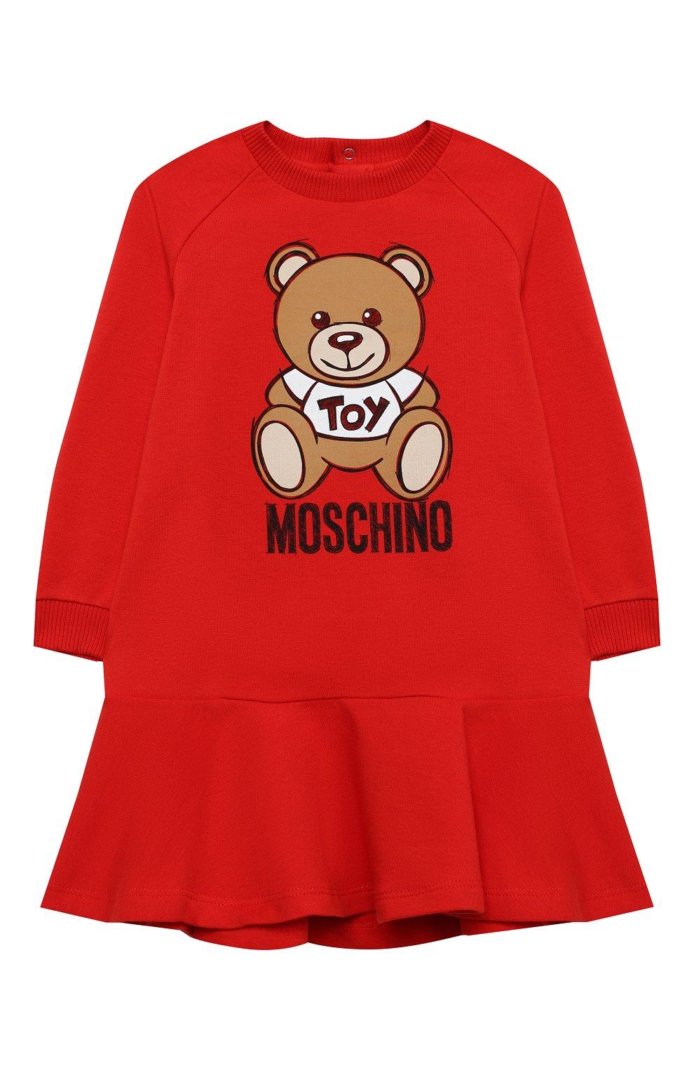Женский хлопковое платье MOSCHINO красного цвета, арт. MAV07M/LDA14 | Фото 1 (Рукава: Длинные; Материал внешний: Хлопок)