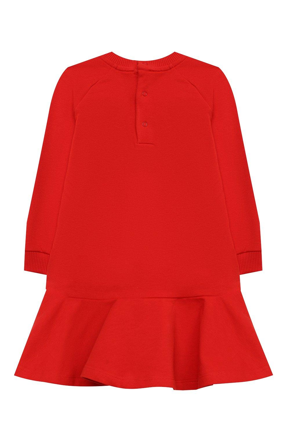 Женский хлопковое платье MOSCHINO красного цвета, арт. MAV07M/LDA14 | Фото 2 (Рукава: Длинные; Материал внешний: Хлопок)