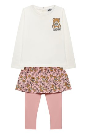 Детский комплект из лонгслива и брюк MOSCHINO бежевого цвета, арт. MDK01M/LBB48 | Фото 1