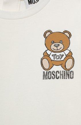Детский комплект из лонгслива и брюк MOSCHINO бежевого цвета, арт. MDK01M/LBB48 | Фото 4