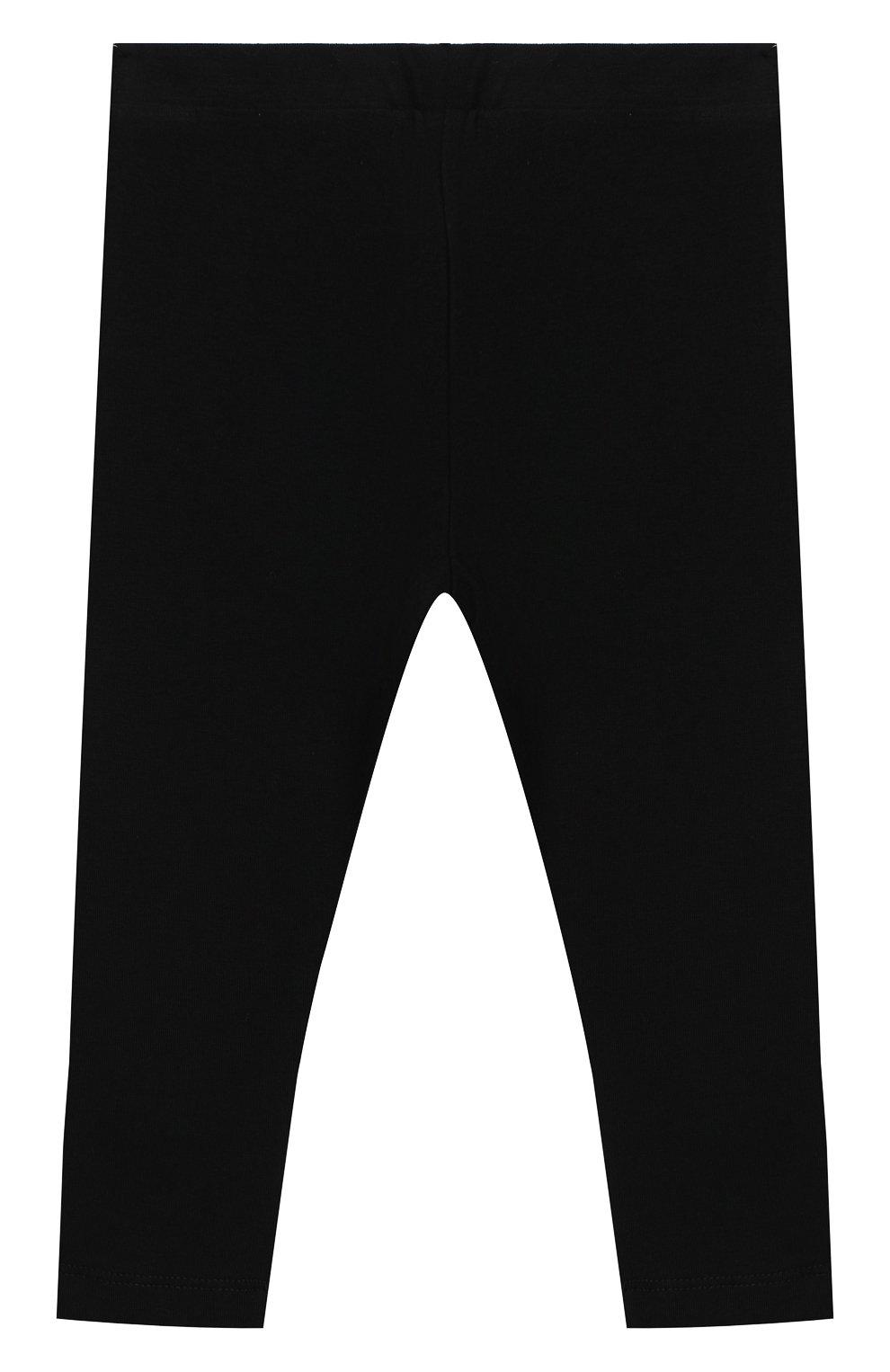 Детские хлопковые леггинсы MOSCHINO черного цвета, арт. MJP02B/LBA11 | Фото 2