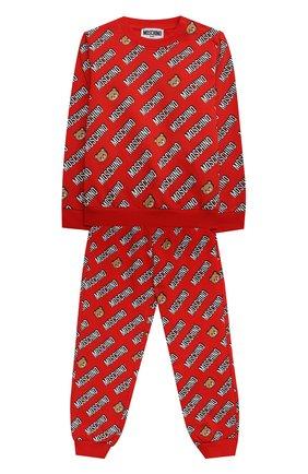 Детский комплект из свитшота и брюк MOSCHINO красного цвета, арт. MMK02P/LDB45 | Фото 1