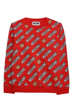 Детский комплект из свитшота и брюк MOSCHINO красного цвета, арт. MMK02P/LDB45 | Фото 2