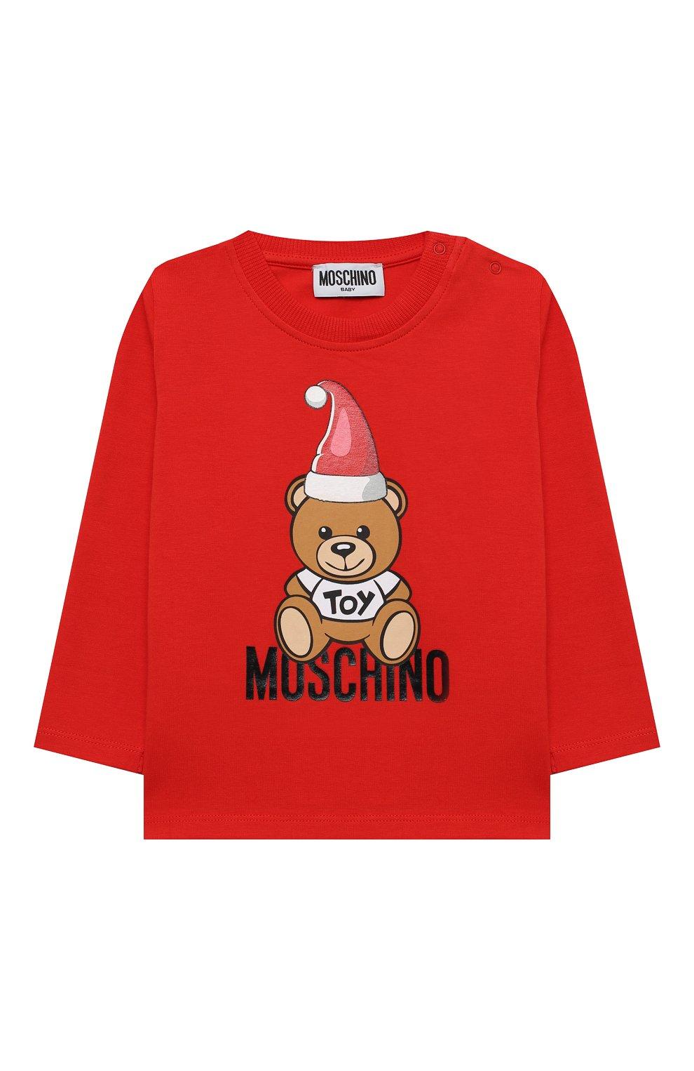 Детский хлопковый лонгслив MOSCHINO красного цвета, арт. MS0000/LBA22   Фото 1