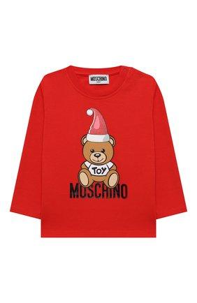 Детский хлопковый лонгслив MOSCHINO красного цвета, арт. MS0000/LBA22 | Фото 1