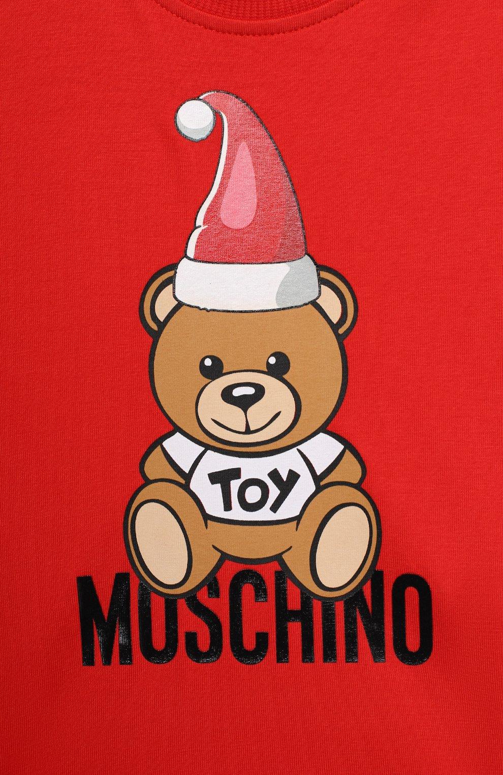 Детский хлопковый лонгслив MOSCHINO красного цвета, арт. MS0000/LBA22   Фото 3