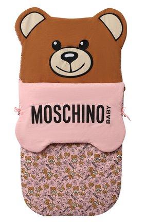 Детский хлопковый конверт MOSCHINO розового цвета, арт. MUE00C/LDB46 | Фото 1