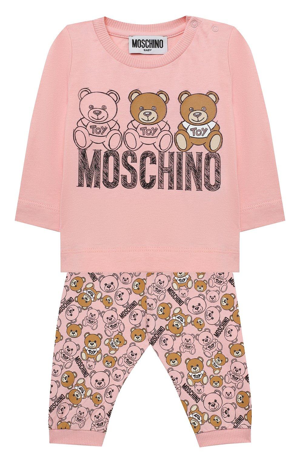 Детский комплект из лонгслива и брюк MOSCHINO розового цвета, арт. MUK02S/LAB19   Фото 1