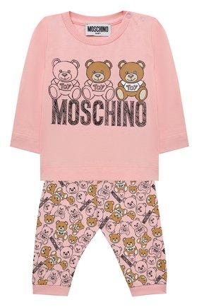 Детский комплект из лонгслива и брюк MOSCHINO розового цвета, арт. MUK02S/LAB19 | Фото 1