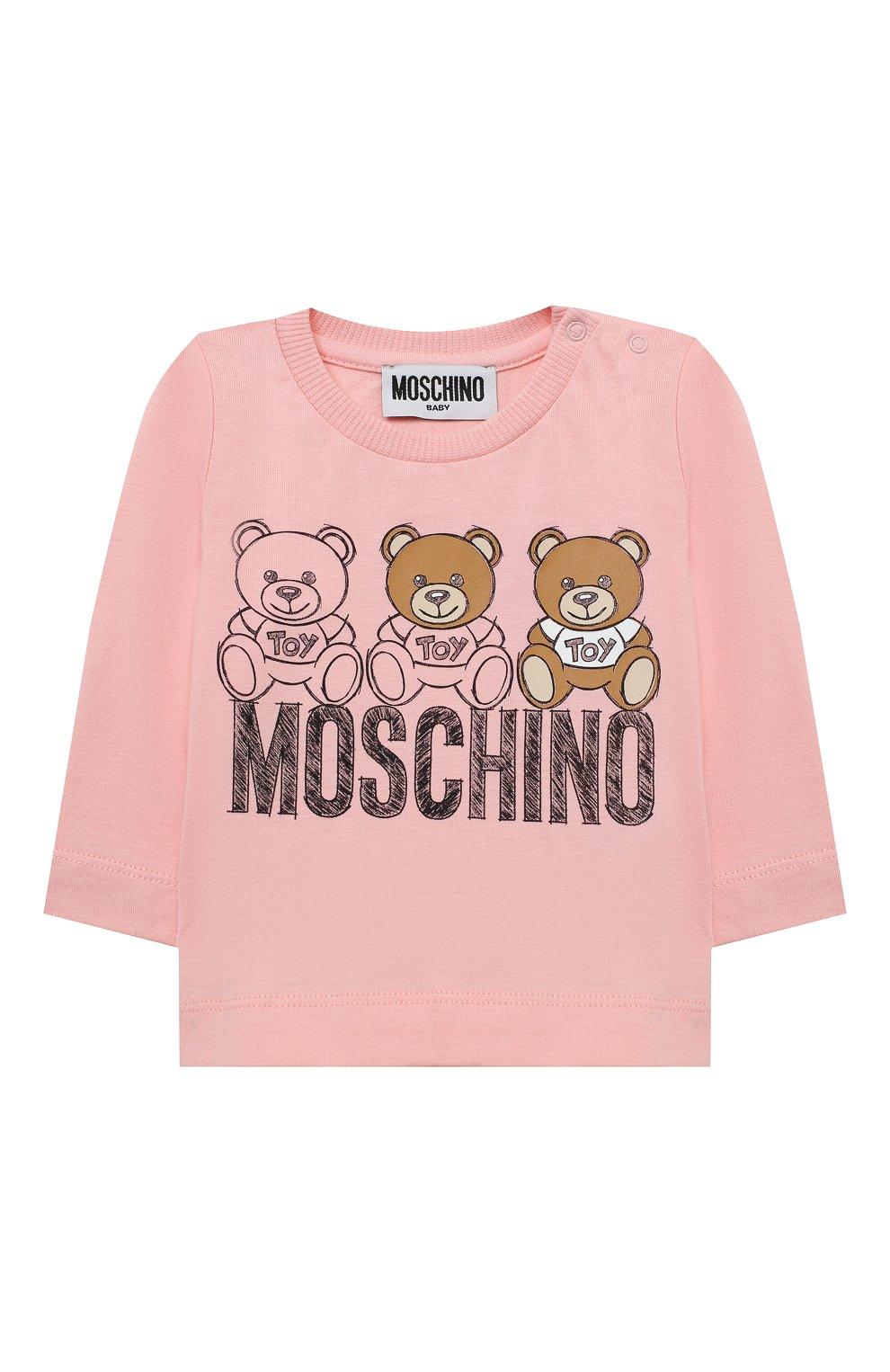 Детский комплект из лонгслива и брюк MOSCHINO розового цвета, арт. MUK02S/LAB19   Фото 2