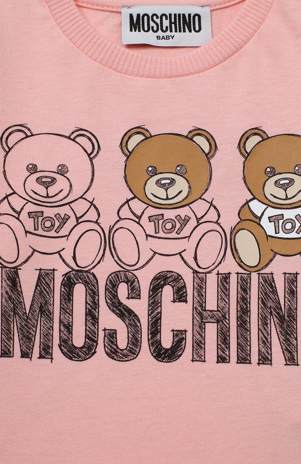 Детский комплект из лонгслива и брюк MOSCHINO розового цвета, арт. MUK02S/LAB19   Фото 4